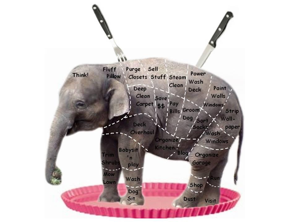 Порезать слона на кусочки